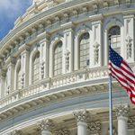 Washington DC Capital detail with american flag